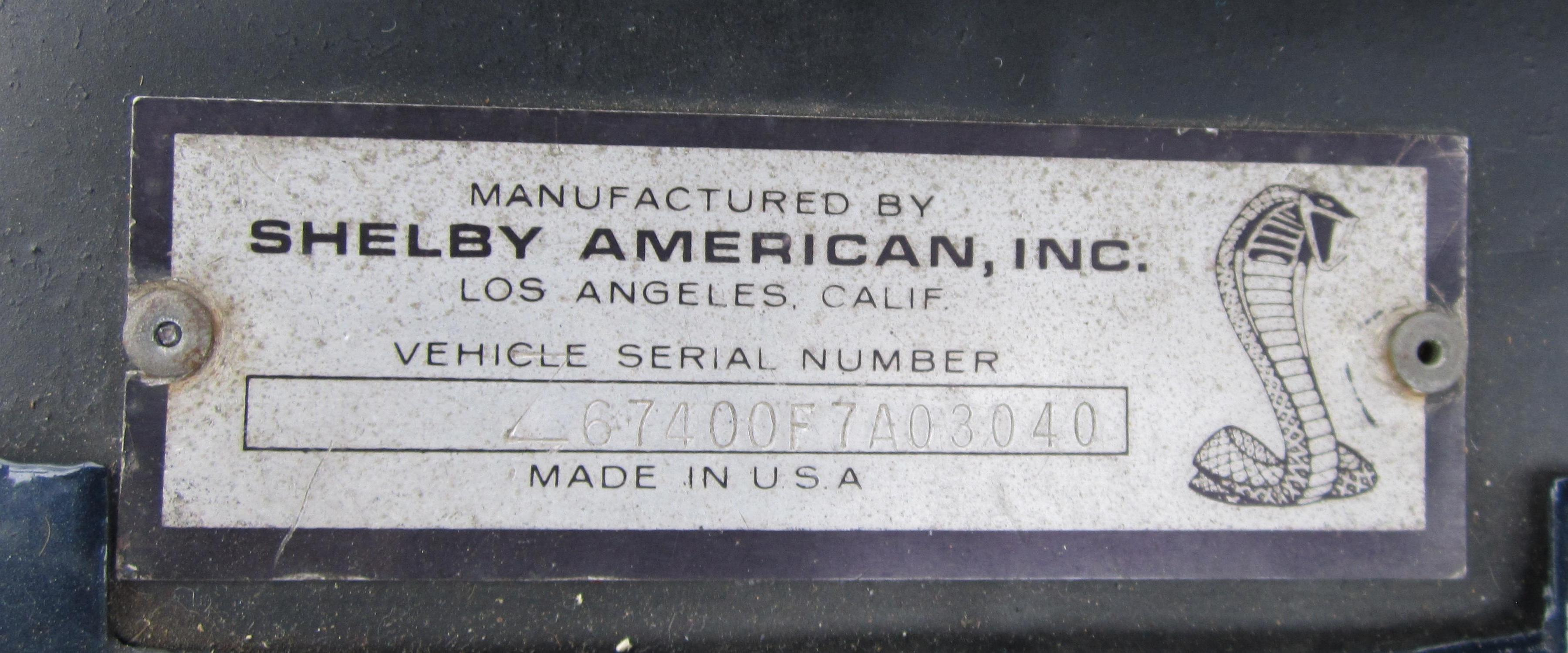 Shelby Production Information - 67400F7A03040